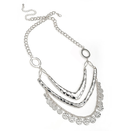En vie Jewellery Three row shiny silver colour charm chain necklace