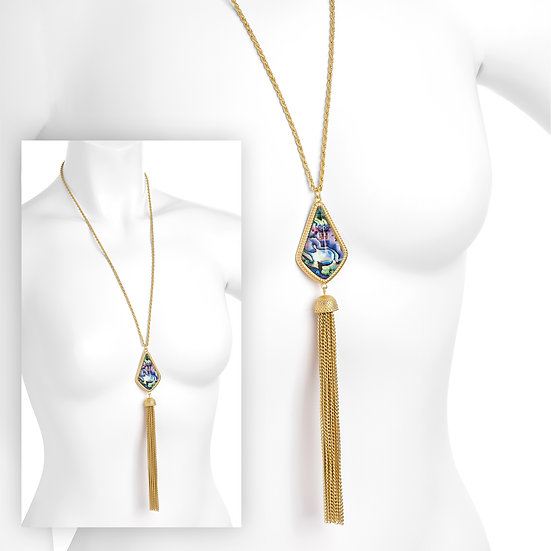 Matt gold colour shell look chain tassel drop necklace