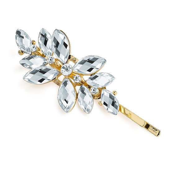 Gold colour crystal motif hair pin