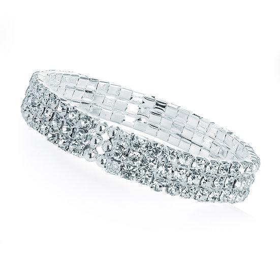 Three row silver crystal cuff bangle