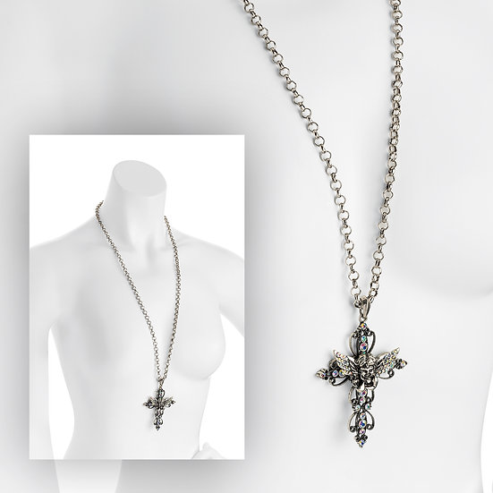 Burnished silver colour AB crystal & crystal effect angel & cross chain