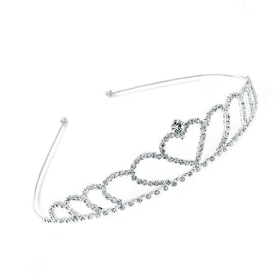 Silver heart design crystal Tiara