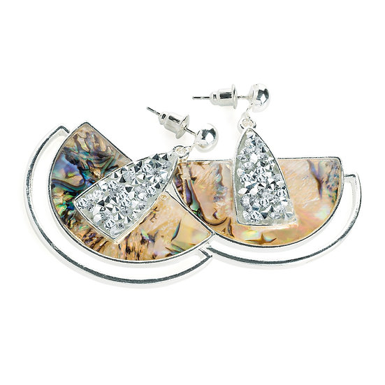 En vie jewellery silver colour shell effect drop earring