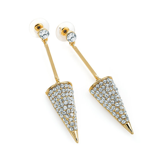 Gold colour crystal triangle design drop earring