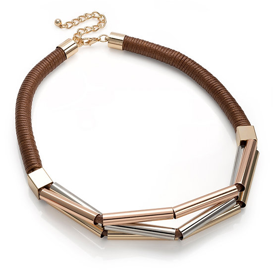 En vie Jewellery Three tone gold, rhodium and rose gold colour brown cord twist necklace