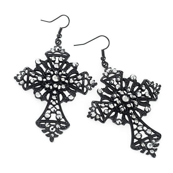En-Vie™ jewellery Stunning Black enamel Cross earrings, detailed with an array of beautiful shiny beads