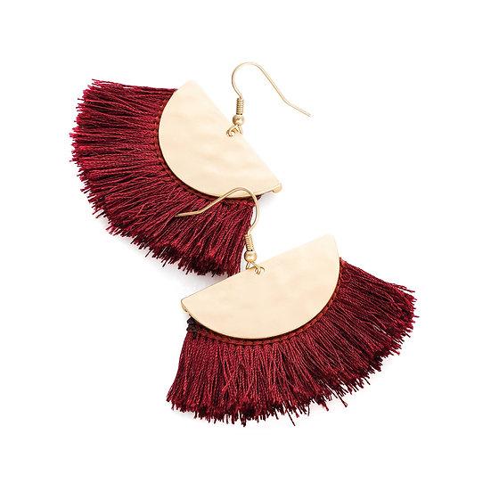 En vie jewellery Matt gold colour burgundy thread earring