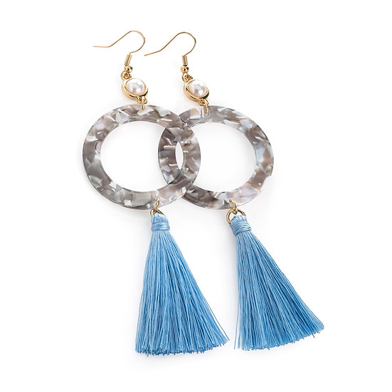 En vie Jewellery Gold and cream pearl colour marble effect blue tassel drop earring