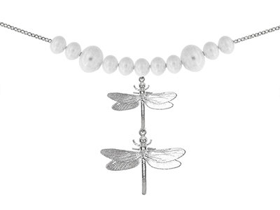 En-Vie™ jewellery Dragonfly bracelet, embellished with an array of 11 Pearls across the chain, 19cm length