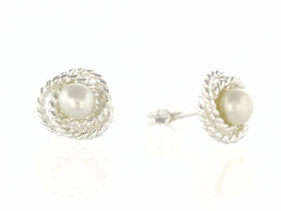 En-Vie™ jewellery Breathtaking Silver Pearl Studs, 4mm - with a Rope Surround, Total width 8mm, Approx weight 1.53GM