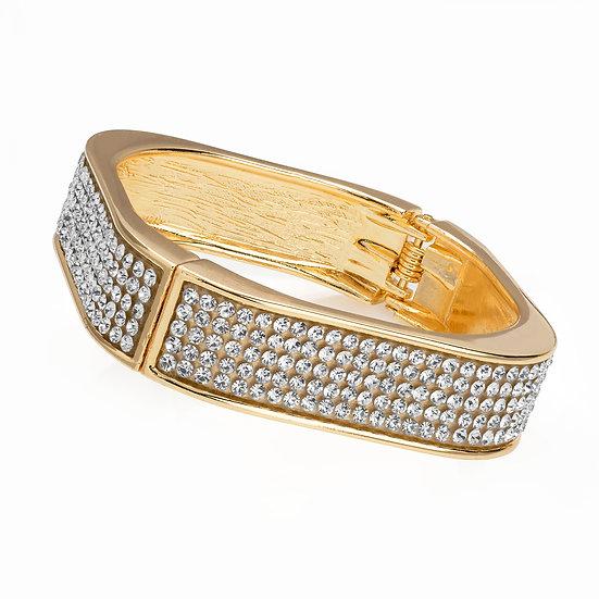 Shiny gold colour crystal square shape hinge bangle