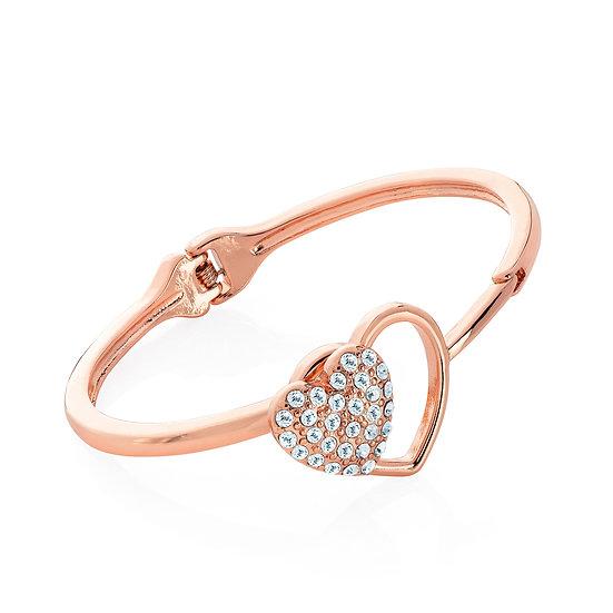 En vie Jewellery Rose gold colour crystal heart design hinge bangle