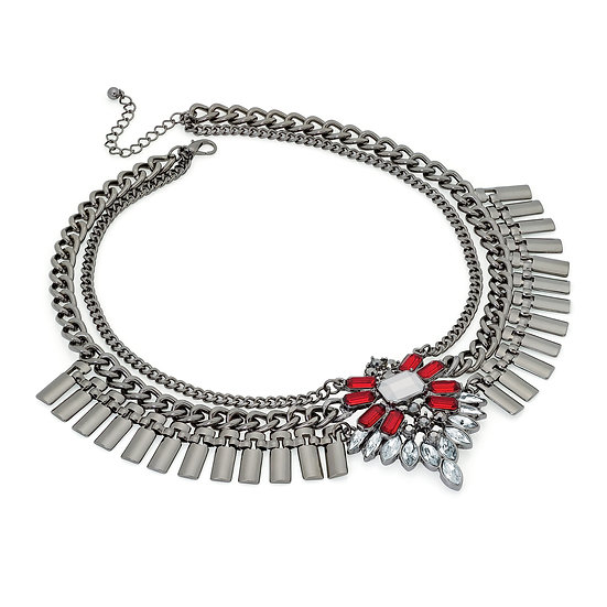 Egyptian style grey hematite statement necklace