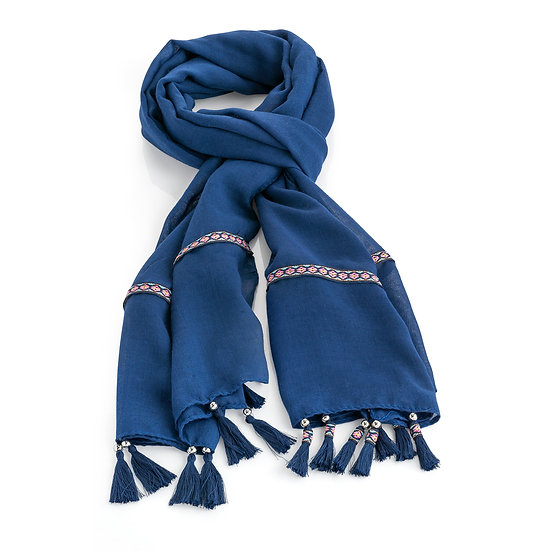 En vie Jewellery Blue and pink tone ribbon design tassel scarf