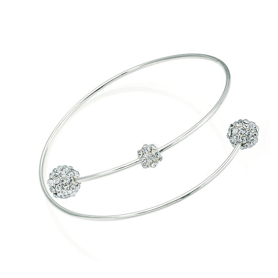 Shiny silver colour crystal ball arm bangle