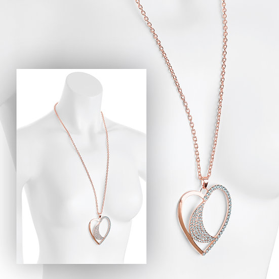 En vie Jewellery Rose gold colour crystal heart design chain necklace
