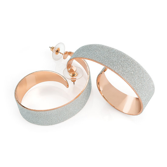 Rose gold and silver colour glitter round twist hoop earring