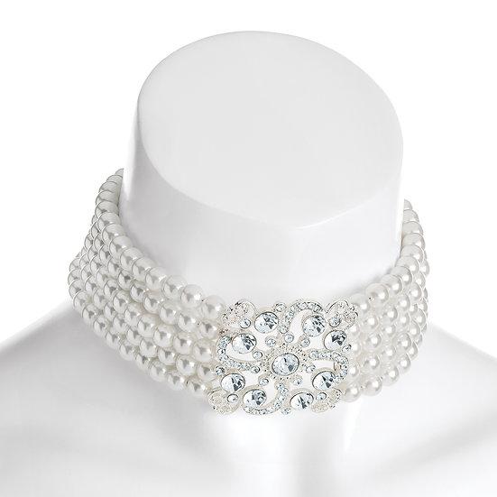 Five row crystal pearl effect bridal choker
