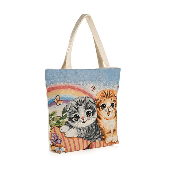 En vie Jewellery Cream and blue tone cat design bag