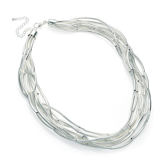 En vie Jewellery Eight row shiny silver colour chain necklace