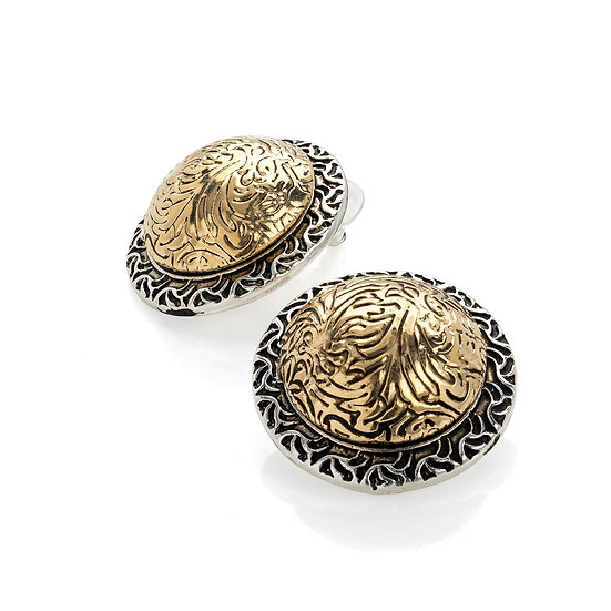 Two tone antique gold and silver colour round earring