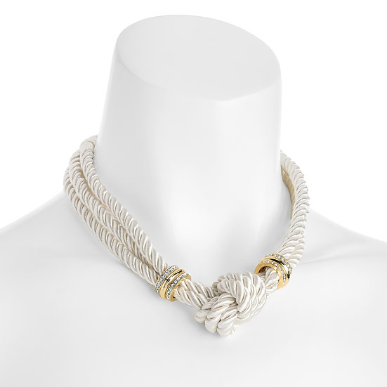 Three row gold colour crystal and white rope necklace