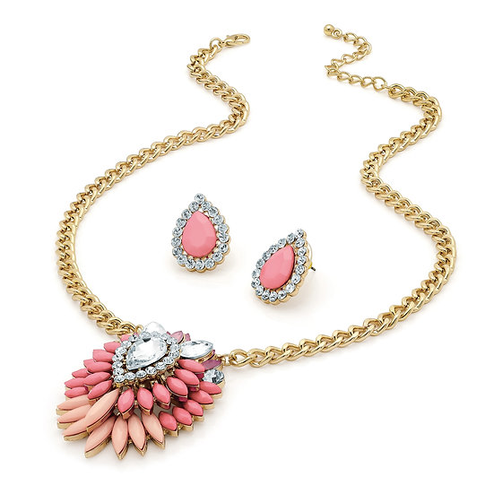 Gold and crystal pink and peach bead necklace set