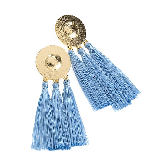 En vie Jewellery Gold colour light blue tassel earring