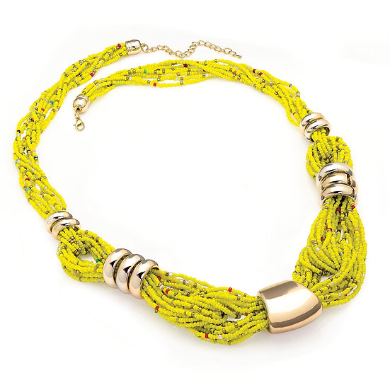 En vie Jewellery Gold colour yellow tone seed bead look necklace