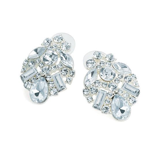 En vie jewellery silver colour crystal stud earring