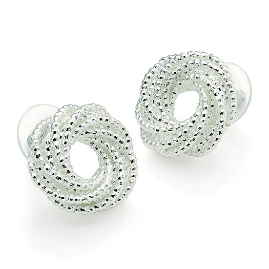 Silver swirl design knot stud earrings
