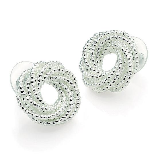 Silver swirl design knot stud earrings