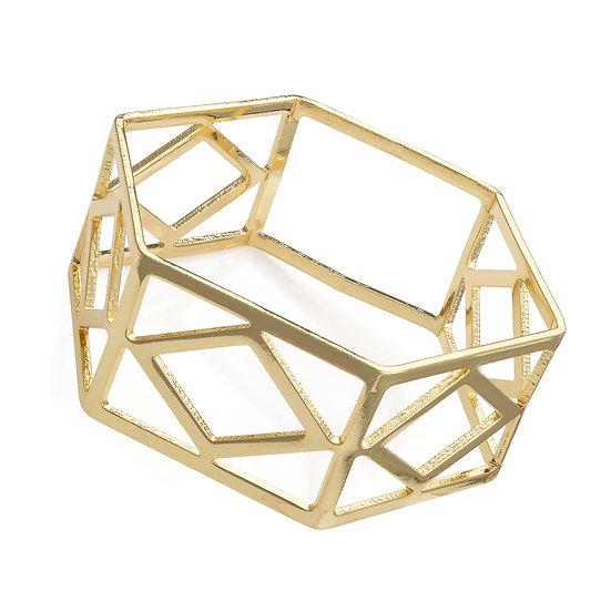 Shiny gold colour hexagon shape bangle