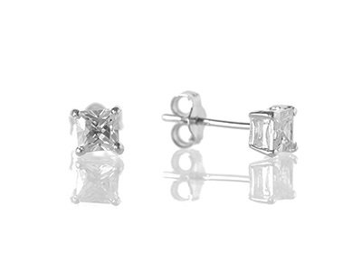 En-Vie™ jewellery Silver Square Cubic Zirconia Stud Earrings, 4mm.
