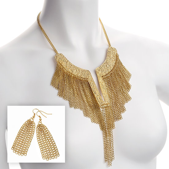 Gold colour Cleopatra chain tassel necklace and earring set