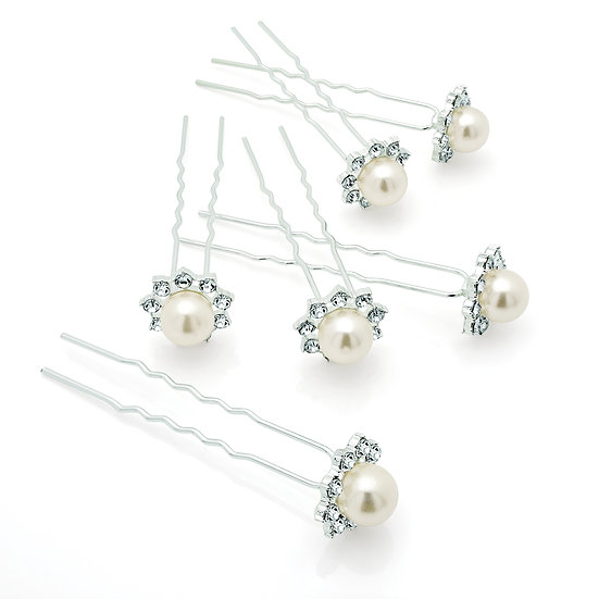 6 Piece silver and cream pearl crystal hair pin set