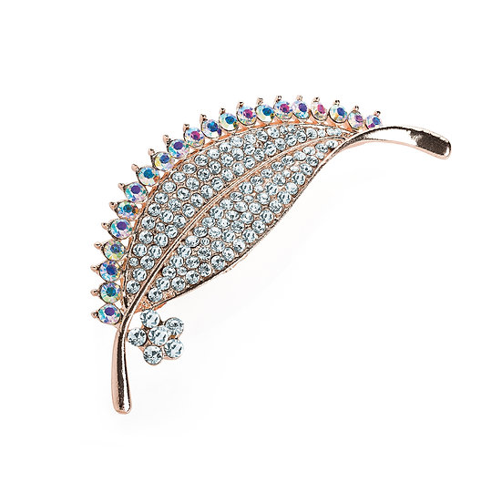 Rose gold colour crystal and AB crystal effect leaf design brooch