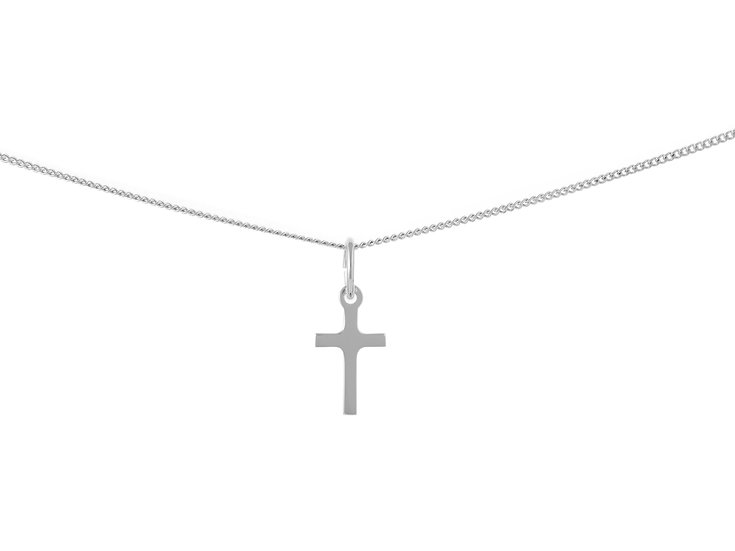 En-Vie™ jewellery Silver Plain Cross Necklace, 16.3 X 8.9mm
