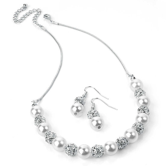 En vie jewellery Silver and white pearl colour crystal necklace and earring set