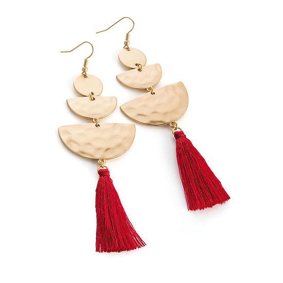 Matt gold colour and red thread drop earring