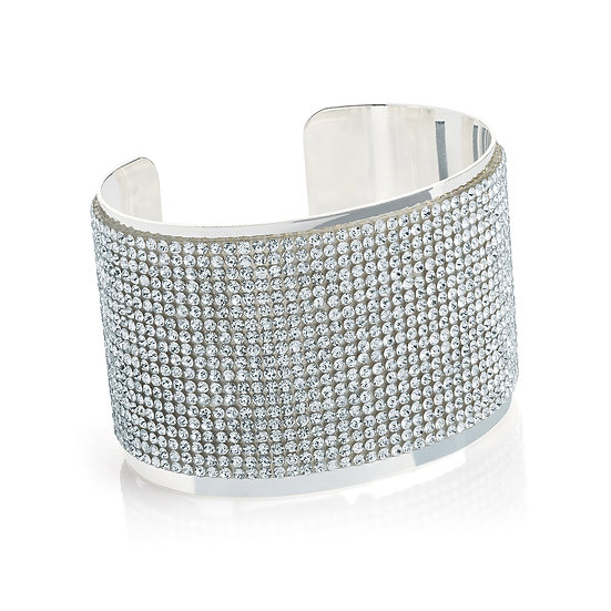 Silver crystal encrusted bangle