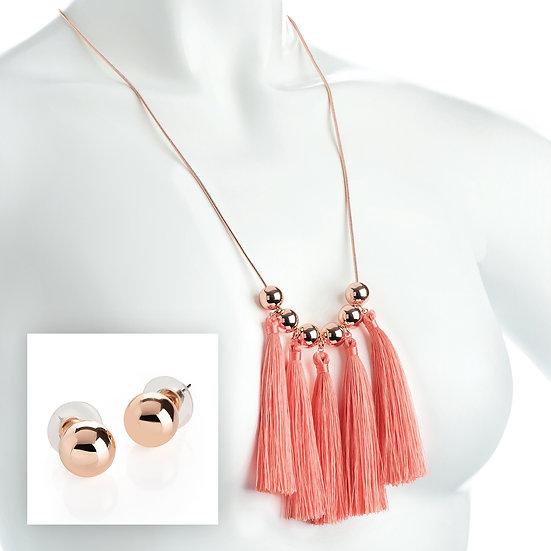 En vie Jewellery Rose gold colour peach tassel stud earring set
