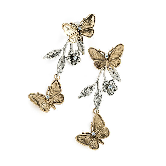 En-Vie™ Jewellery Glamorous long burnished gold and silver colour butterfly drop earring, stunning statement earrings