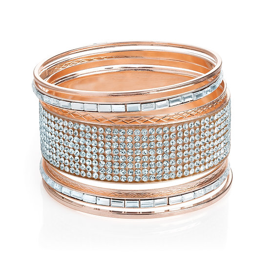 Seven piece rose gold crystal bangle set