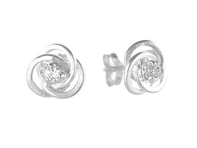 En-Vie™ jewellery Silver Stud Earrings, 9.4mm - with 2.7mm CZ in the centre. Approx Weight 1.67 GMS.