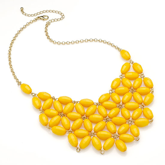 En vie Jewellery Shiny gold colour bright yellow flower look bead chain choker necklace