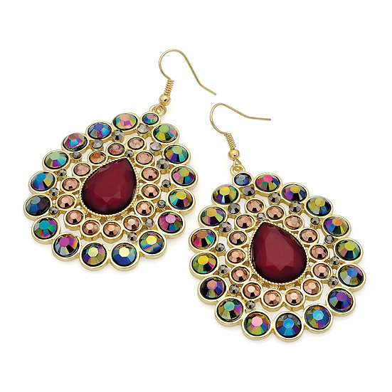 Gold colour AB crystals and burgundy bead oval fish hook earring