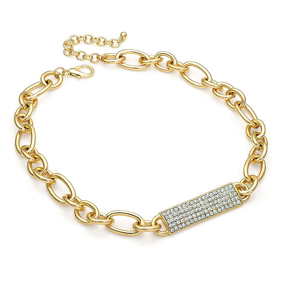 En vie Jewellery Gold colour crystal barrel bar chain necklace