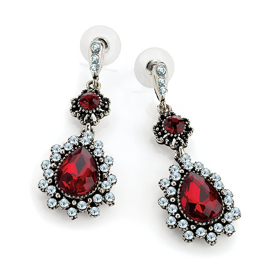 Antique silver colour red oval drop bead earring