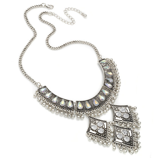 En vie Jewellery Burnished silver colour crystal and AB crystal effect chain necklace
